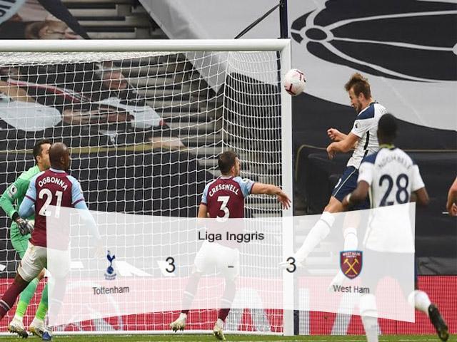 Skor Pertandingan, Liga Inggris, Premier League, Tottenham Hotspur, West Ham, Skor Imbang, skor bola hari ini