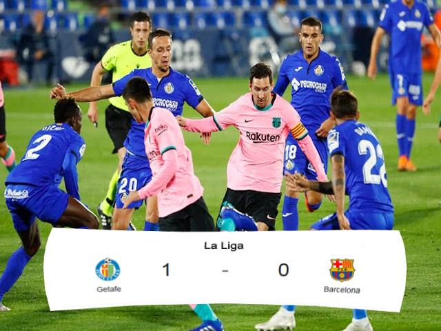 Getafe, Barcelona, Skor Pertandingan, membobol gawang, barcelona kalah, getafe menang melawan barcelona