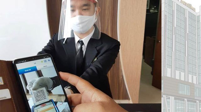 Hotel Santika, transaksi menggunakan QRIS, pembayaran non tunai, Agar tetap steril, sneeze guard, Aplikasi QR Code