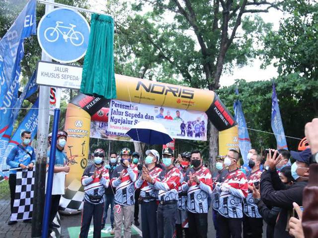 Kambang iwak, Kota Palembang, Pengendara Sepeda, Jalur Khusus, Sosialisasi Penggunaan Jalan Raya, launching jalur khusus sepeda, jalur khusus sepeda