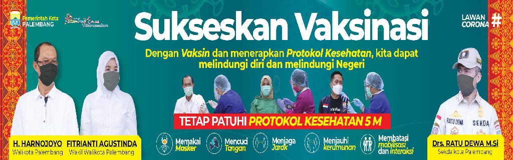 baner perkot tentang vaksinasi, vaksinasi dan prokes 5m